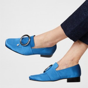 Blue Metal Circle Crystal Satin Loafers for Women