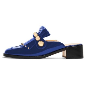 Blue Mirror Leather Fringe Studs Loafer Mules