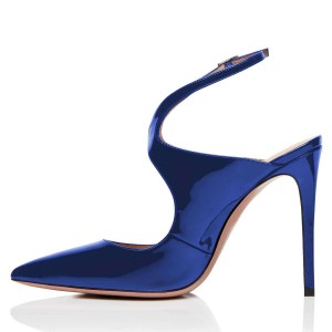 Blue Mirror Leather Slingback Pumps Stiletto Heel Pointy Toe