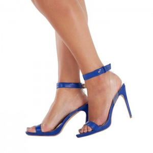 Royal Blue Clear Slingback Heels Open Toe Ankle Strap Sandals