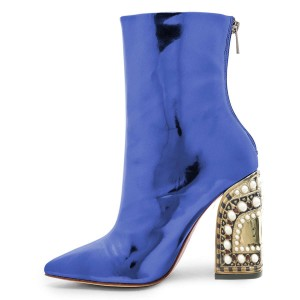 Blue Patent Leather Ankle Booties Pearl Block Heel Boots