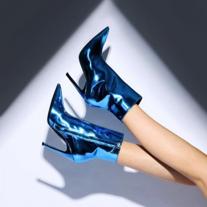 Blue Patent Leather Stiletto Boots Pointy Toe Ankle Booties