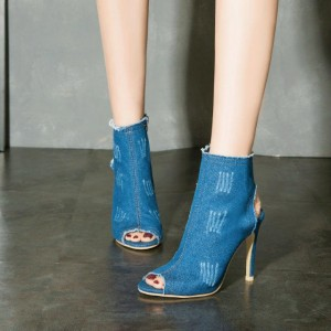 Blue Peep Toe Denim Boots Stiletto Heels Slingback Ankle Summer Boots
