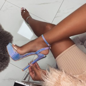 Clear and Holographic Shoes Open Toe Platform Ankle Strap Sandals
