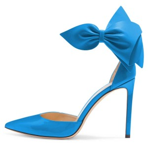 Blue Pointy Toe Bow Ankle Strap Heels Pumps