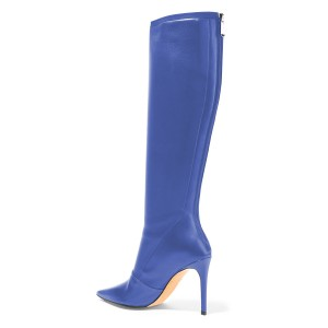 Blue Pointy Toe Stiletto Boots Knee High Boots