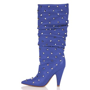 Blue Rockstud Cone Heel Fashion Boots Mid-calf Boots for Women