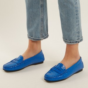 Blue Lizards Round Toe Comfortable Flat Penny Loafers for Women