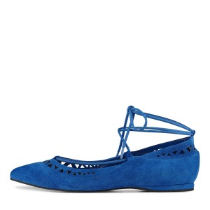 Blue Pointy Toe Hollow out Comfortable Flats Strappy Ballet Shoes