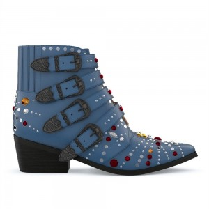 Blue Motorcycle Boots Pointy Toe Chunky Heel Rhinestone Short Boots