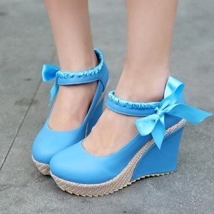 Blue Heeled Wedges Round Toe Silk Ribbon Platform Pumps