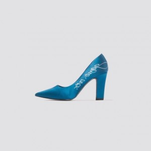 Blue Satin Chunky Heels Game Over Pointy Toe Pumps