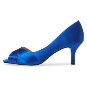 Blue Satin Peep Toe Kitten Heel D'orsay Wedding Shoes