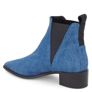 Blue Denim Chelsea Boots Pointy Toe Slip-on Chunky Heel Ankle Boots