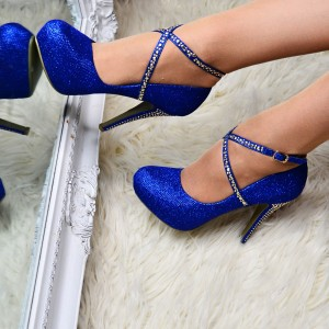 Blue Sparkly Heels Rhinestones Cross Over Stiletto Heel Wedding Pumps