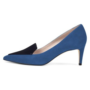 Blue Stiletto Heels Pointy Toe Suede Pumps