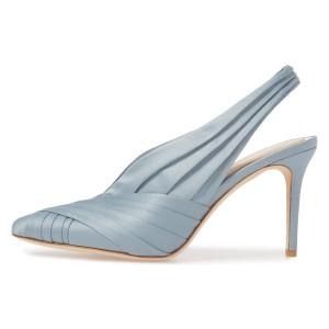 Light Blue Strappy Stiletto Heel Slingback Pumps