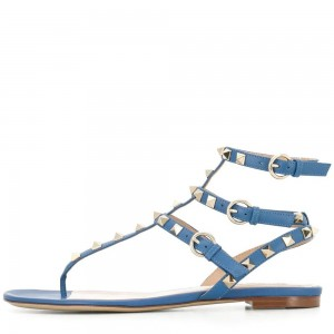 Blue Flat Studded Sandals Vintage Gladiator Sandals
