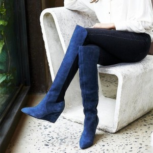 Blue Suede Boots Wedge Heel Knee High Boots