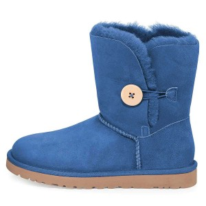 Blue Suede Flat Winter Boots