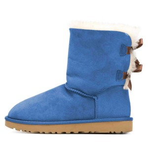 Blue Suede Flat Winter Boots with Bow