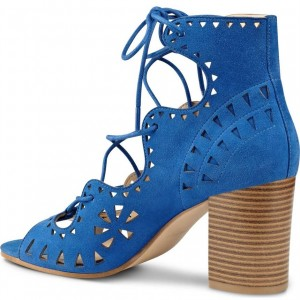 Blue Suede Hollow Out Lace Up Block Heel Sandals
