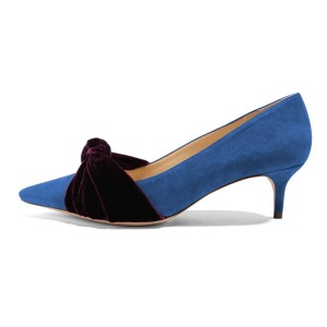 Blue Suede Knot Pointy Toe Kitten Heels Pumps for Women