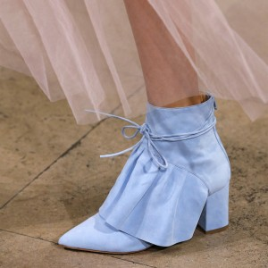 Blue Suede Lace Up Ruffle Chunky Heel Boots