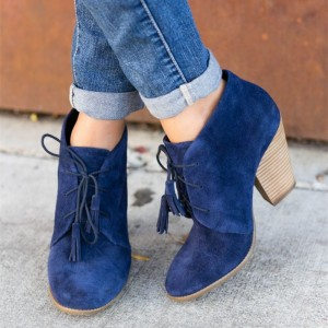 Blue Suede Lace Up Tassel Block Heel Ankle Booties