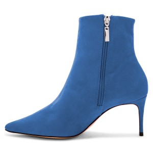 Blue Suede Pointy Toe White Stripe Stiletto Heel Ankle Booties