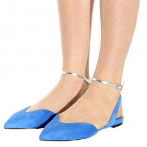 Blue Suede Silver Ankle Strap Slingback Comfortable Flats