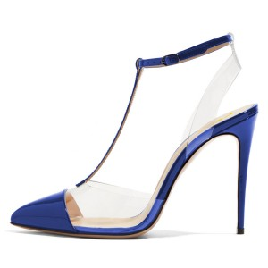 Blue T Strap Sandals Mirror Leather Ankle Strap Clear Sandals