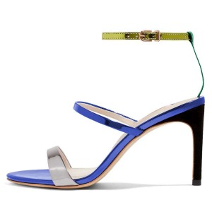 Blue Triple Straps Stiletto Heel Ankle Strap Sandals