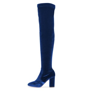 Blue Velvet Chunky Heel Boots Over-the-knee Boots