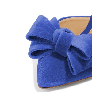 Women's Blue Bow Stiletto Heel Mules