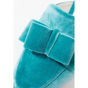 Blue Velvet Flats Mule Bow Square Toe Loafers for Women