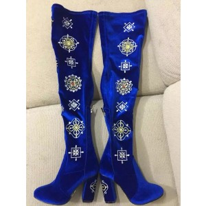 Blue Velvet Floral Long Boots Chunky Heel Thigh High Boots