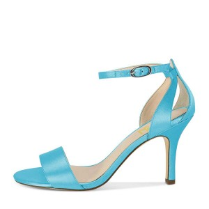 Light Blue Wedding Heels Satin Ankle Strap Sandals for Bridesmaid