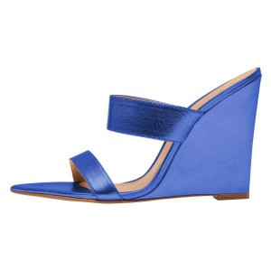 Blue Wedge Heels Mule Sandals