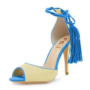 Blue Yellow Stiletto Heels Tassels Peep Toe Ankle Strap Sandals