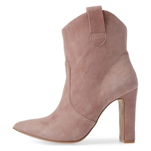 Blush Almond Toe Chunky Heel Boots Vintage Ankle Booties