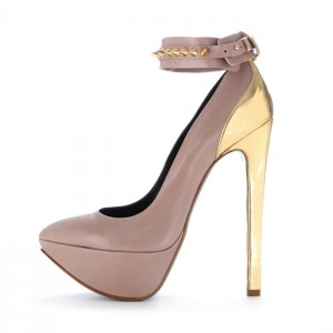 Blush and Gold Rivets Ankle Strap Heels Platform Pumps