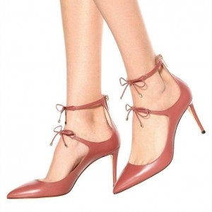 Blush Bow Ankle Strap Heels Stiletto Heel Pointed Toe Pumps
