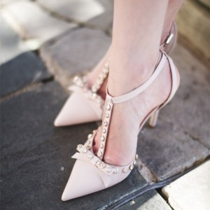 Blush Bow Rhinestones Stiletto Heel T Strap Pumps