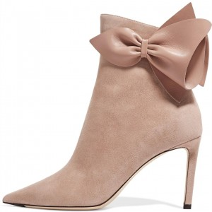 Blush Bow Suede Stiletto Boots Pointy Toe Ankle Booties