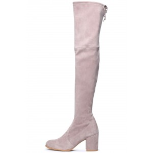 Women's Suede Block Heel Over-the-Knee Strech Boots in Blush
