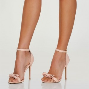 Blush Cute Bow Heels Open Toe Stiletto Heels Ankle Strap Sandals