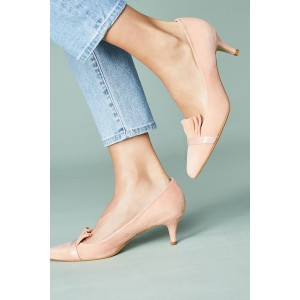Blush Kitten Heels Pointy Toe Suede Comfortable Shoes