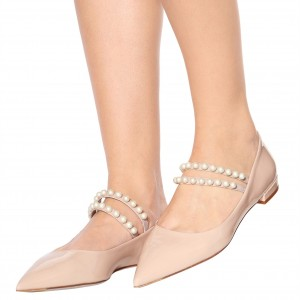 Blush Patent Leather Mary Jane Shoes Pointy Toe Flats With Pearls