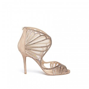 Women's Blush Rhinestone Hollow Out Stiletto Heel Bridal Sandals